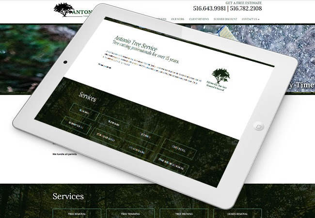 Antonio Tree Service Web Design Example